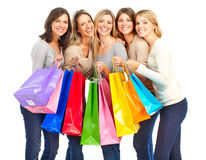 Shopping  women. Happy shopping women. Isolated over white background Stock Photography