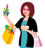 Shopping women. A woman shopping back rewarding Stock Image