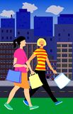 Shopping women. Two women with shopping bags royalty free illustration
