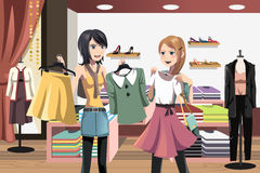 Shopping women. A vector illustration of women shopping in a clothing store Stock Photography