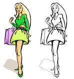 Shopping women with a bag. Vector illustration on white background Royalty Free Stock Photos