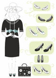 Shopping women black white dress and black shoes Stock Photos