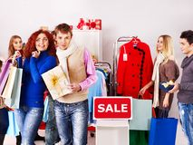 Shopping women at Christmas sales. Stock Images