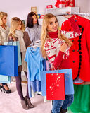 Shopping women at Christmas sales Stock Photography