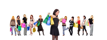 Shopping women group isolated Royalty Free Stock Image