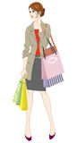 Shopping women holding smart phone Royalty Free Stock Images