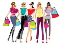 Shopping women illustration Royalty Free Stock Photography