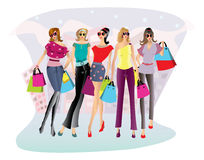 Shopping women illustration Stock Images