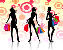 Shopping women. Illustration of three women with fashion shopping background Royalty Free Stock Photography