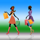 Shopping Women Indicates Commercial Activity And Adults Stock Photography