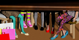 Shopping women, only legs. Under table view, several women, in colourful stockings with shopping bags Stock Images