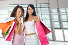 Shopping Women On Glass Interio Stock Photos