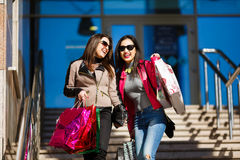 Shopping women outdoors Royalty Free Stock Images