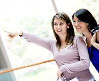 Shopping women pointing away Stock Image