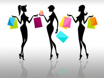 Shopping Women Represents Retail Sales And Adults Stock Photos