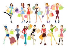 Shopping women set. Stock Photo
