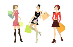 Shopping women set. Royalty Free Stock Photos