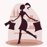 Shopping women silhouette Stock Image