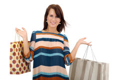 Shopping women smiling over white backg. Round royalty free stock image