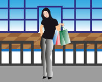 Shopping Women. Vector illustration of a shopping women with bags Royalty Free Stock Image