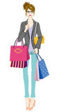Shopping women, who wearing glasses Royalty Free Stock Photography