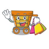 Shopping wooden trolley character cartoon. Vector illustration stock illustration