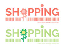 Shopping word with flower symbol. Vector illustration Royalty Free Stock Photos