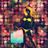 Shopping yellow bikini girl Royalty Free Stock Image