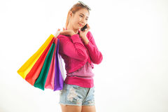 Shopping young asian woman talking Royalty Free Stock Image