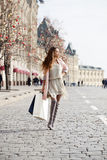 Shopping. Young beautiful brunette woman Stock Image