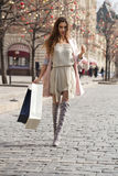 Shopping. Young beautiful brunette woman Stock Photo