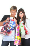 Shopping young couple Stock Images