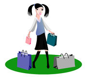 Shopping young girl. Glamour young girl in black skirt, shopping, vector stock illustration