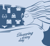 Shopping. Young girl. authors illustration in Royalty Free Stock Image