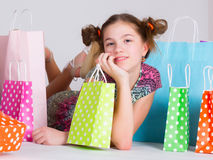 Shopping. Young girl with shopping bags Royalty Free Stock Image