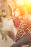 Shopping young girl rest Royalty Free Stock Photography