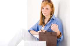 Shopping young woman with bag Stock Photography