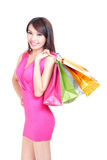 Shopping young woman with color bags Stock Image