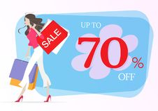 Shopping young woman walking with shopping bags. vector illustration
