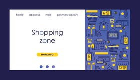 Shopping zone vector illustration. Delivery, discount services banners. Cart with goods. Shops and malls with royalty free illustration