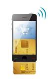 Shoppingbegrepp. Kreditkort och modern mobil vektor illustrationer