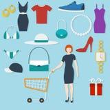 Shoppingbegrepp med plana symboler Royaltyfri Foto