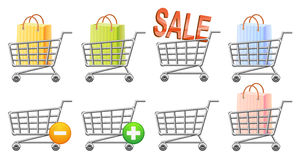 Shoppingcart and button. Shoppingcart icon; button; sale; isolated vector illustration Stock Images