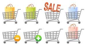 Shoppingcart i guzik Obrazy Stock
