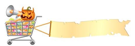 Shoppingcart y bandera de Víspera de Todos los Santos Imagenes de archivo