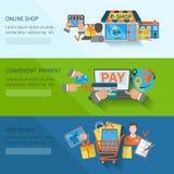 ShoppingE-kommers baner vektor illustrationer