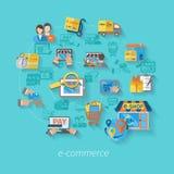 ShoppingE-kommers begrepp Arkivbilder