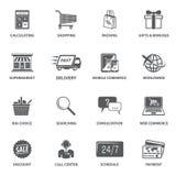 ShoppingE-kommers symboler vektor illustrationer
