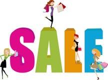 Shoppingflicka- och försäljningsord vektor illustrationer