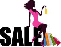 Shoppingflicka- och försäljningsord stock illustrationer